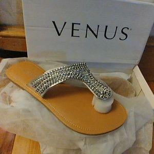 NWT- VENUS Rhinestone flat sandals